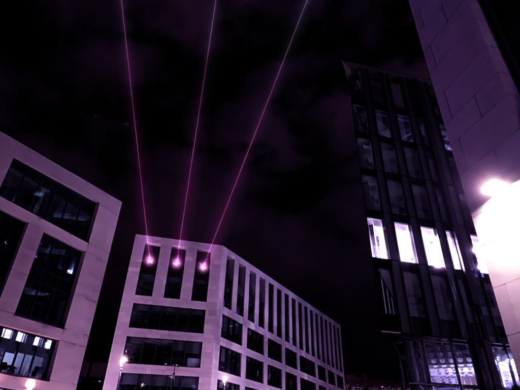 Artist's illustrations of what the lasers will look like in Leeds